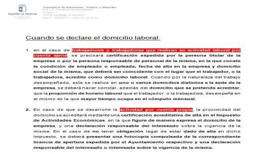 Instrucciones detalladas justificación domicilio laboral
